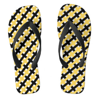 CHIC FLIP FLOPS_YELLOW/BLACK /WHITE WEAVE THONGS