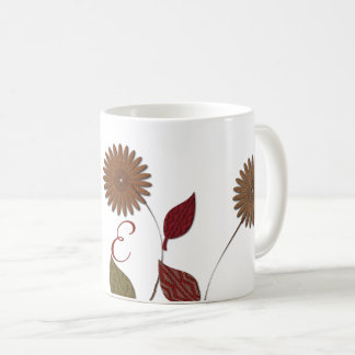 Chic Floral Abstract Monogrammed Mug