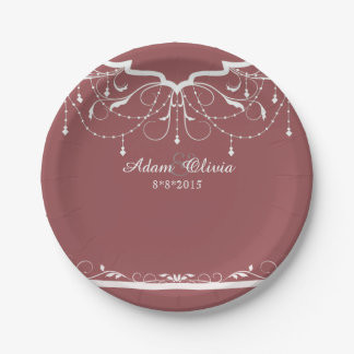 Chic Floral Chandelier Brick Red Wedding 7 Inch Paper Plate
