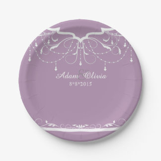 Chic Floral Chandelier Lavender  Wedding 7 Inch Paper Plate