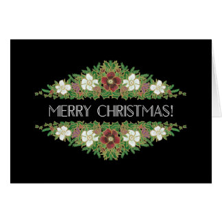 Chic Floral Christmas Roses, Hellebores Holly Ivy Card