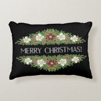 Chic Floral Christmas Roses, Hellebores, Holly Ivy Decorative Cushion