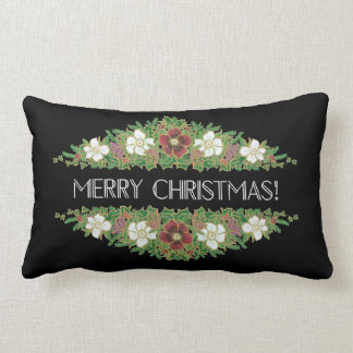 Chic Floral Christmas Roses, Hellebores, Holly Ivy Lumbar Cushion