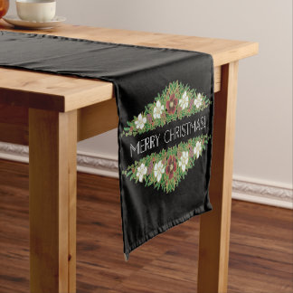 Chic Floral Christmas Roses, Hellebores, Holly Ivy Short Table Runner
