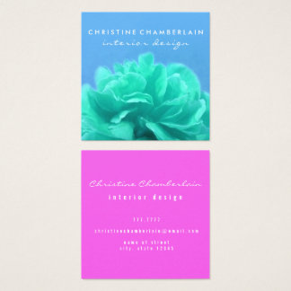 Chic Floral Color-Contrast Square Business Card