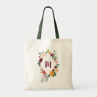 Chic Floral Diamond Frame Personalised Tote Bag
