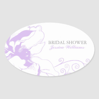 Chic Floral Envelope Seal Oval Sticker