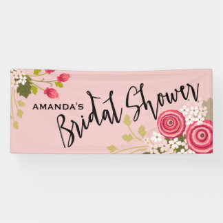 Chic Floral Garden Bridal Shower Celebration Banner