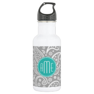 Chic Floral Gray Paisley Pattern & Blue Monogram 532 Ml Water Bottle