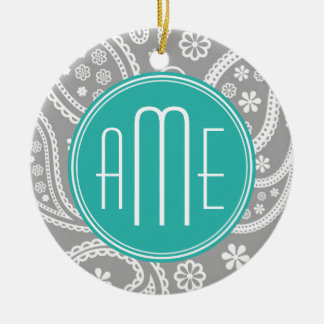 Chic Floral Gray Paisley Pattern & Blue Monogram Double-Sided Ceramic Round Christmas Ornament