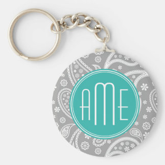 Chic Floral Gray Paisley Pattern & Blue Monogram Basic Round Button Key Ring