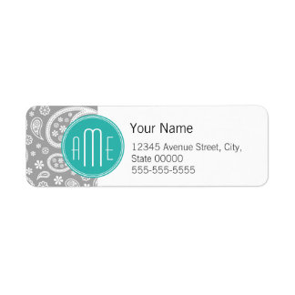 Chic Floral Gray Paisley Pattern & Blue Monogram Return Address Label