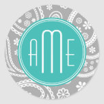 Chic Floral Grey Paisley Pattern & Blue Monogram Round Stickers