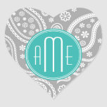 Chic Floral Grey Paisley Pattern & Blue Monogram Heart Stickers