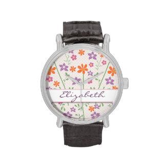 Chic Floral Pattern Design Monogram Wrist Watches