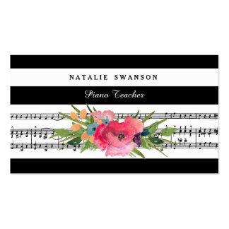 Chic Floral Piano Teacher Modern Musical Notes Pack Of Standard Business Cards