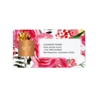 Chic floral pink metallic copper square monogram label