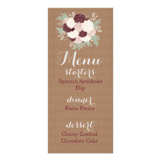 Chic Floral Reception Menu- Dark Wine Accent Customized Rack Card