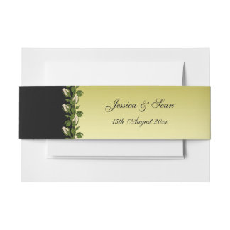 Chic Floral Romantic Gold & Black Wedding Invitation Belly Band