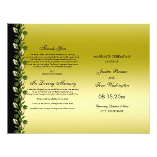 Chic Floral Romantic Gold & Black Wedding Program Flyer