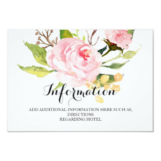 Chic Floral Wedding Information/Details 2-Sided-2 Card