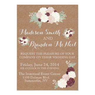 Chic Floral Wedding Invite- Dark Wine Accent 13 Cm X 18 Cm Invitation Card