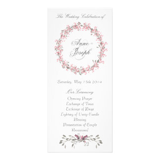 Chic floral wedding program personalised rack card