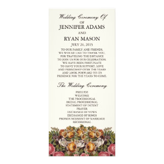 Chic Floral | Wedding Program Full Colour Rack Card