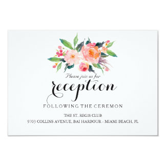 Chic Floral Wedding Reception/Details 2-Side Card