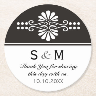 Chic Floral Wedding Thank You Monogram:Black White Round Paper Coaster
