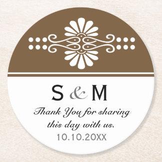 Chic Floral Wedding Thank You Monogram:Brown White Round Paper Coaster