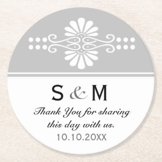 Chic Floral Wedding Thank You Monogram:Gray White Round Paper Coaster