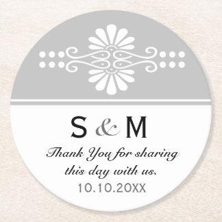 Chic Floral Wedding Thank You Monogram:Gray White Round Paper Coaster