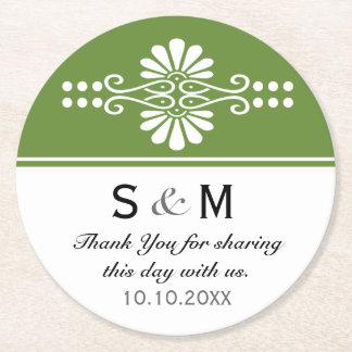 Chic Floral Wedding Thank You Monogram:Green White Round Paper Coaster