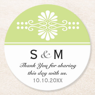 Chic Floral Wedding Thank You Monogram:Green White Round Paper Coaster