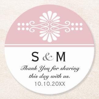 Chic Floral Wedding Thank You Monogram:Pink White Round Paper Coaster