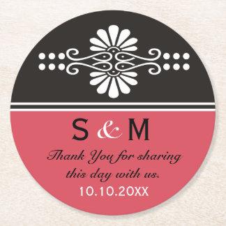 Chic Floral Wedding Thank You Monogram:Red Black Round Paper Coaster