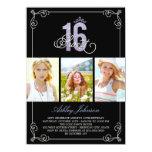 Chic Flourish Glam Sweet 16 Photo Birthday Party 11cm X 16cm Invitation Card