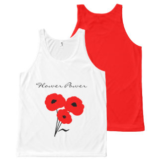 """CHIC """"FLOWER POWER"""" TOP_MOD 01 RED POPPIES All-Over PRINT SINGLET"""