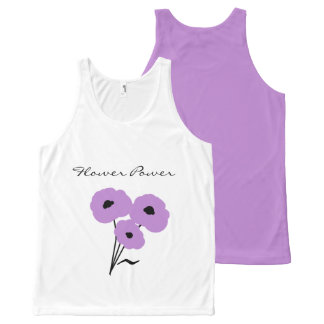 """CHIC """"FLOWER POWER"""" TOP_MOD LAVENDER POPPIES All-Over PRINT SINGLET"""