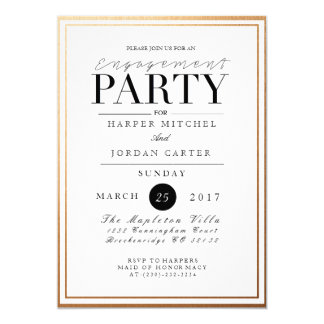 Chic & Formal Engagement Party | Gold Foil Invite