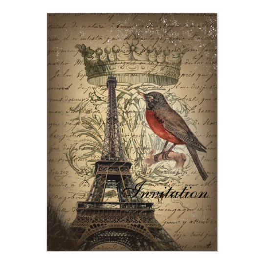 Chic French Bird Modern Vintage Paris Eiffel tower Card