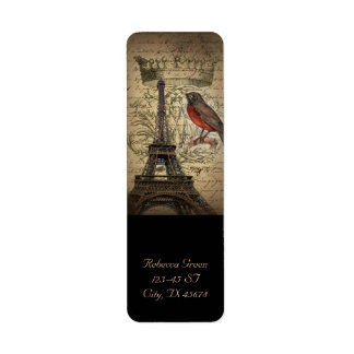 Chic French Bird Modern Vintage Paris Eiffel tower Return Address Label