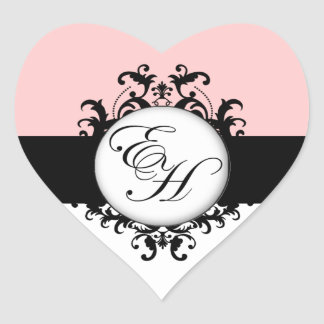 Chic French Black Monograms Damask Labels Heart Heart Sticker