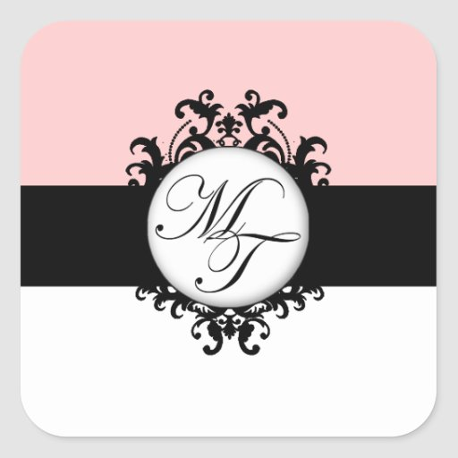 Chic French Black Monograms MT Damask Labels Square Stickers