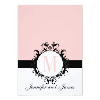 Chic French Damask Monogram Wedding Invitation