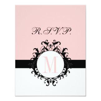 Chic French Damask Monogram Wedding RSVP Card 11 Cm X 14 Cm Invitation Card