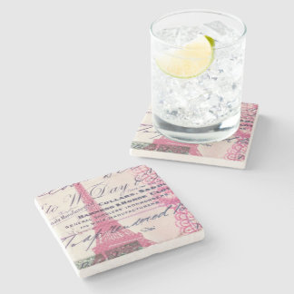 chic french scripts lace pink paris eiffel tower stone coaster
