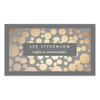 Chic Fun Gold Circles Gray Trendy Designer Double-Sided Standard Business Cards (Pack Of 100)