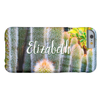 Chic, fuzzy orange & green cacti photo custom name barely there iPhone 6 case